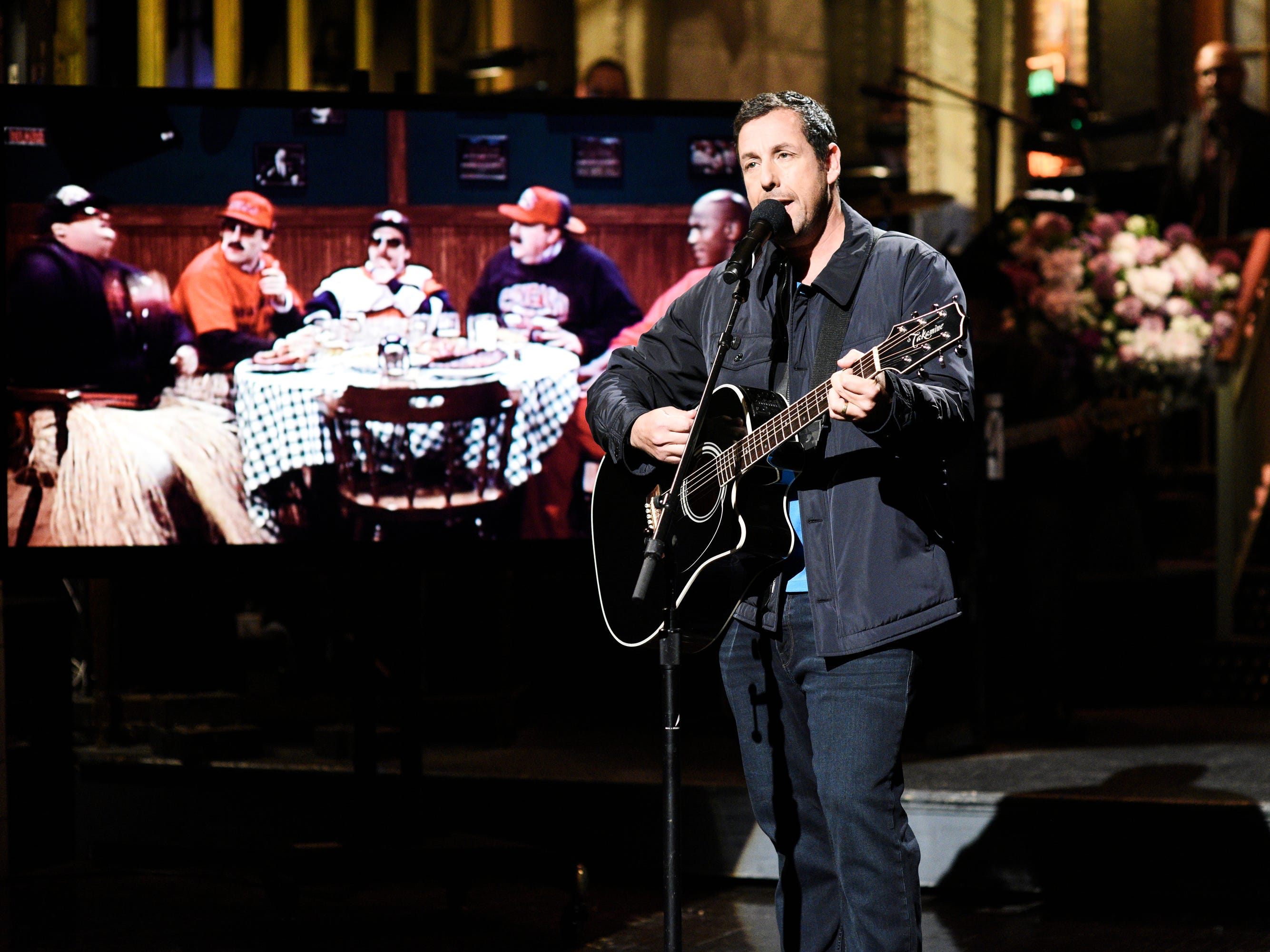 """Sandler ended the show with a song to remember his friend and former """"SNL"""" cast mate Chris Farley."""