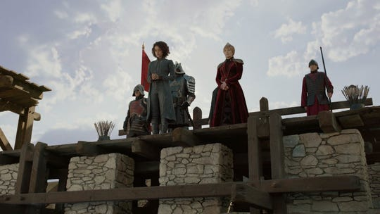 Cersei Lannister (Lena Headey), right center, is prepared to order the execution of Missandei (Nathalie Emmanuel), left center.
