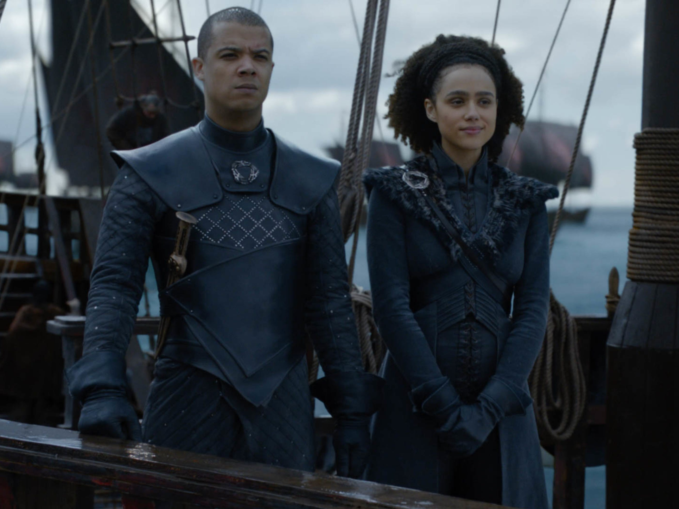 Missandei (Nathalie Emmanuel), right, looks happy with Grey Worm (Jacob Anderson). Happiness rarely works out on 'Game of Thrones.'