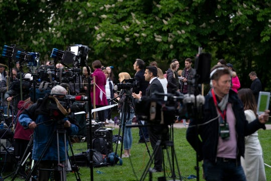 Media people broadcast from the Long Walk at Windsor Castle after the announcement of the birth of a baby boy to Prince Harry and Duchess Meghan of Sussex, May 6, 2019.