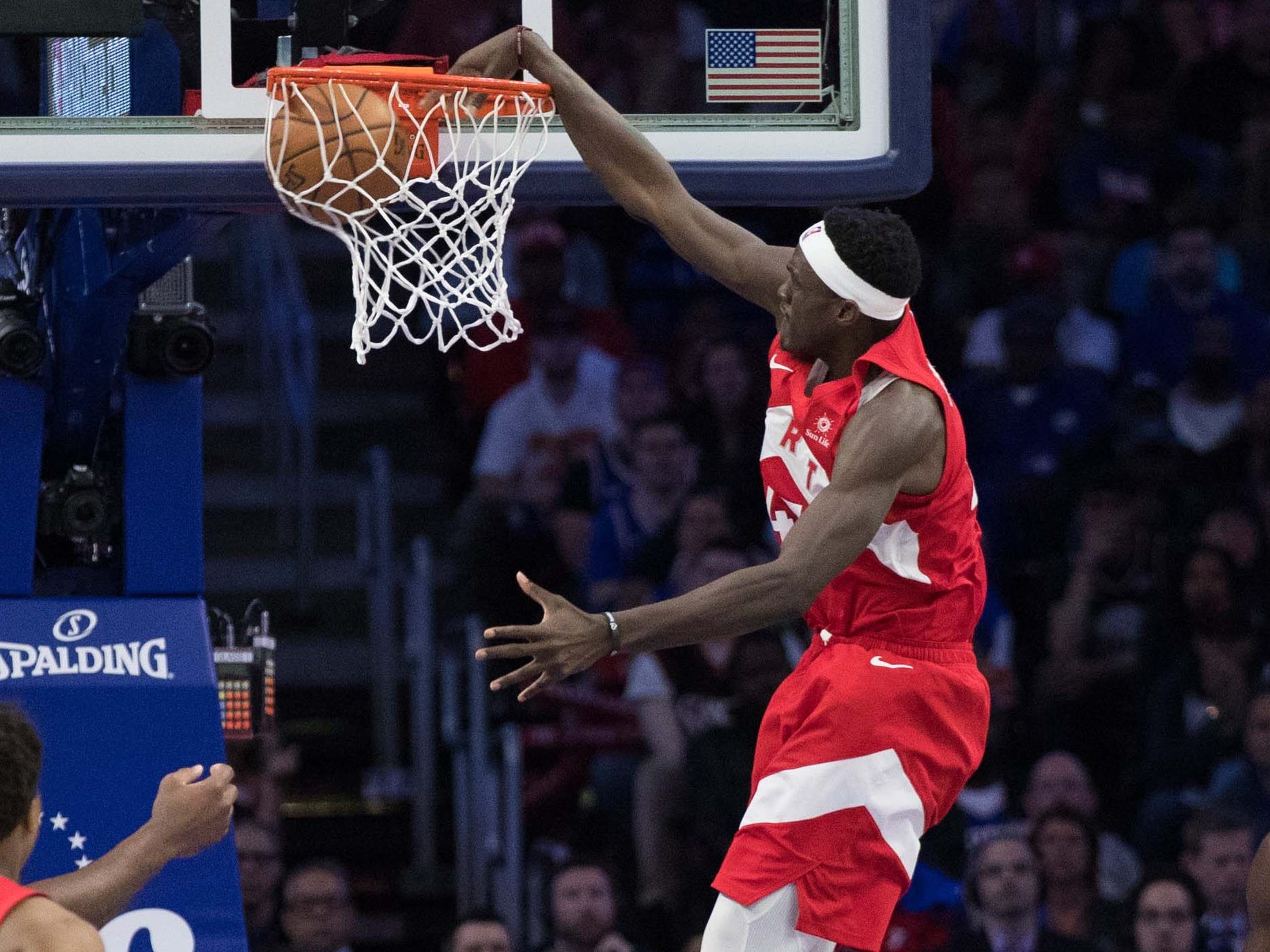 May 5: Raptors forward Pascal Siakam throws down the one-handed slam during Game 4 against the 76ers.