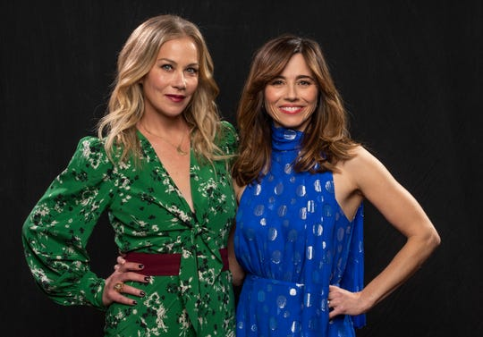 Christina Applegate, left, and Linda Cardellini pose for a portrait in New York.