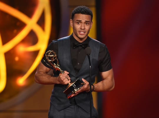 "Kyler Pettis receives the Daytime Emmy Award as outstanding younger actor in a drama series for ""Days of Our Lives."""