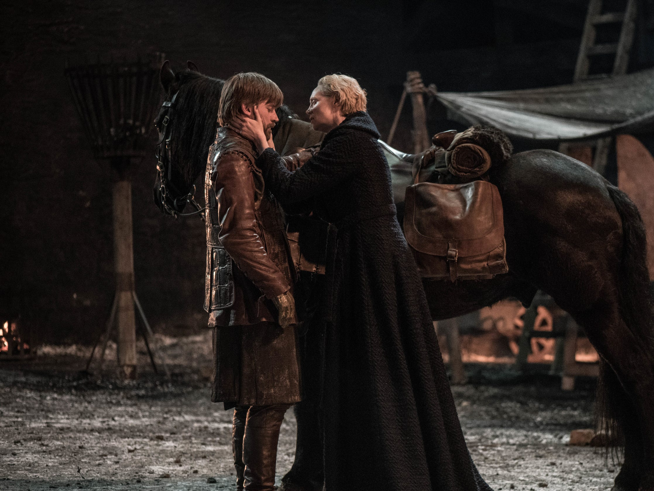 Jaime Lannister (Nikolaj Coster-Waldau), left, and Brienne of Tarth (Gwendoline Christie) share a sad goodbye in 'The Last of the Starks' episode of 'Game of Thrones.'
