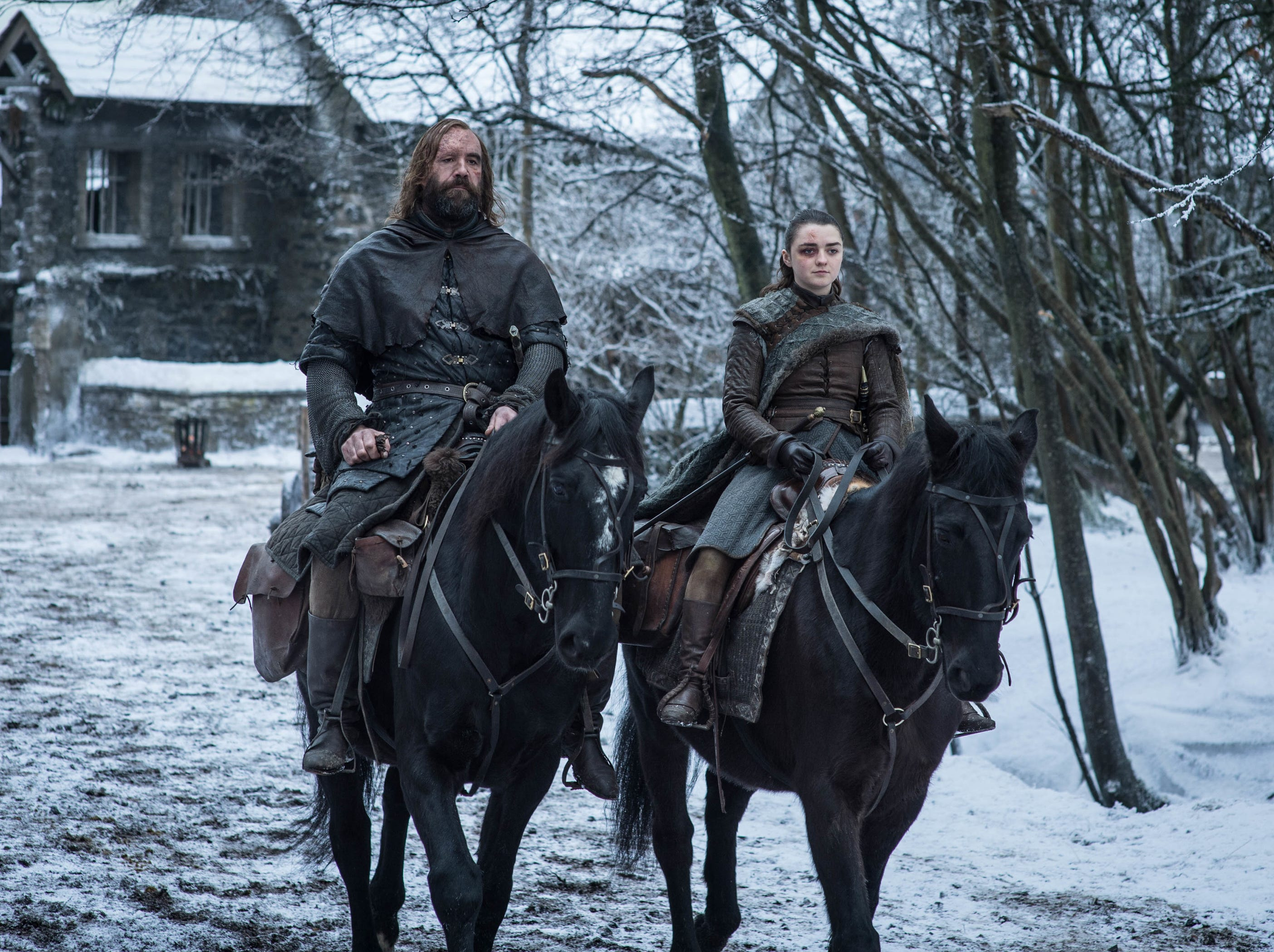 Arya (Maisie Williams), right, and The Hound (Rory McCann) are both headed out to take care of unfinished business.