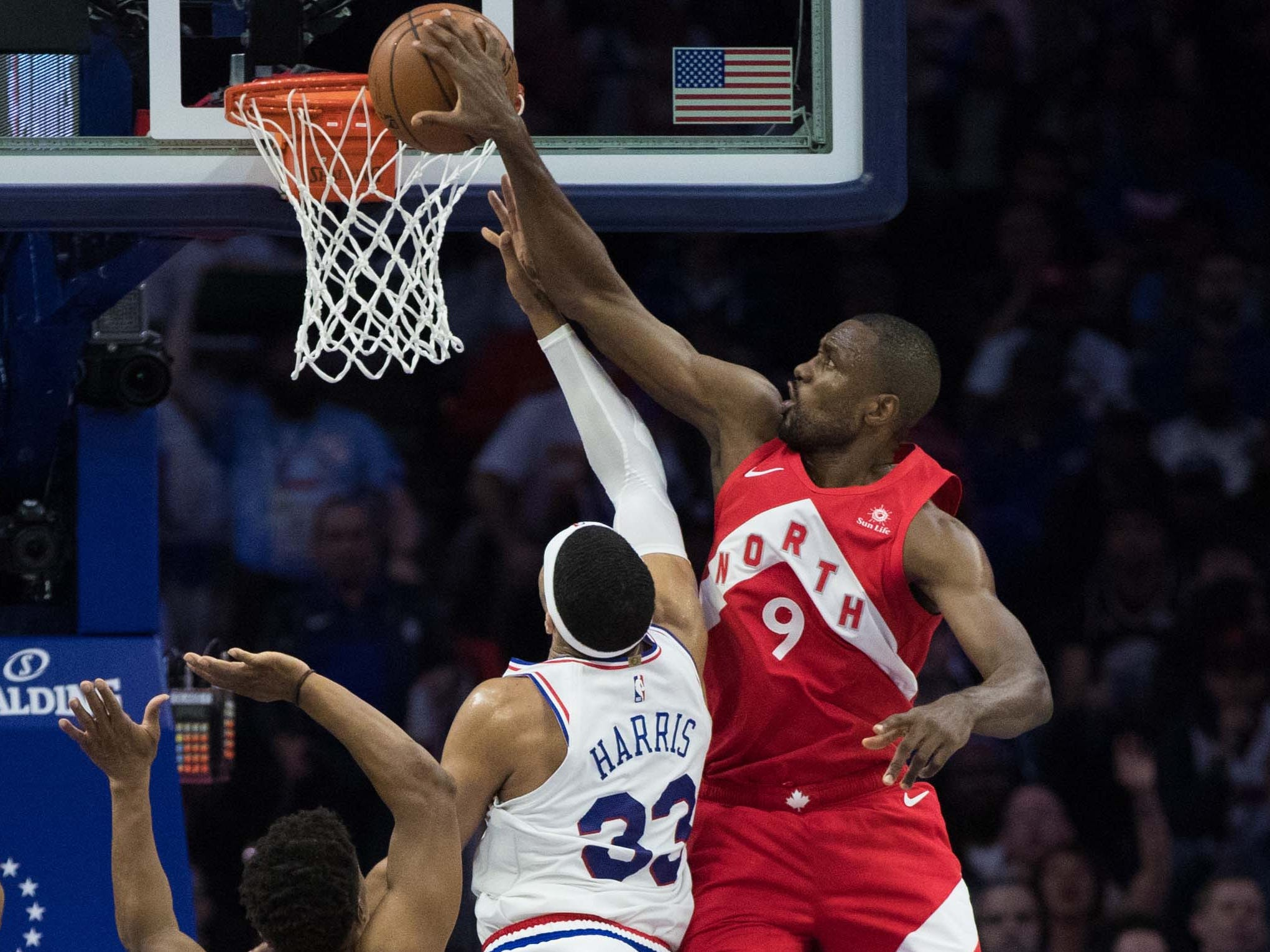 May 5: Raptors defender Serge Ibaka (9) blocks the shot attempt by 76ers forward Tobias Harris (33) during Game 4.