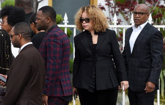 Costume designer Ruth Carter arrives at a memorial service for film director John Singleton at Angelus Funeral Home in Los Angeles.