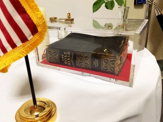A Bible displayed at the Veterans Affairs medical center in Manchester, New Hampshire.