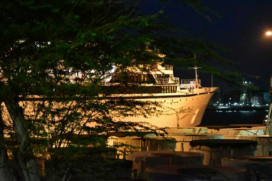 The Freewinds cruise ship is docked at the port of Willemstad, Curacao, on May 4, under quarantine because of measles.