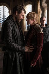 Euron Greyjoy (Pilou Asbaek), left, plans a land-sea marriage alliance with Cersei Lannister (Lena Headey) as Qyburn (Anton Lesser) looks on.