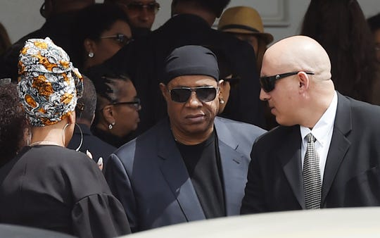 Singer Stevie Wonder leaves a memorial service for film director John Singleton at Angelus Funeral Home in Los Angeles. Singleton died on April 29 following a stroke.
