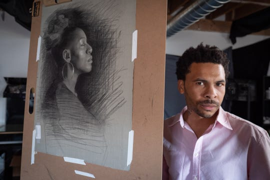 George Morton with a drawing in progress in his Atlanta atelier.