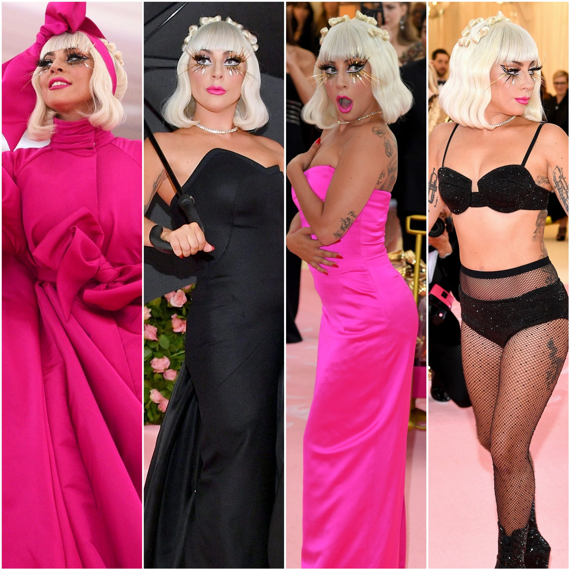 One carpet; four looks. Lady Gaga had a memorable metamorphosis on the Met Gala carpet.