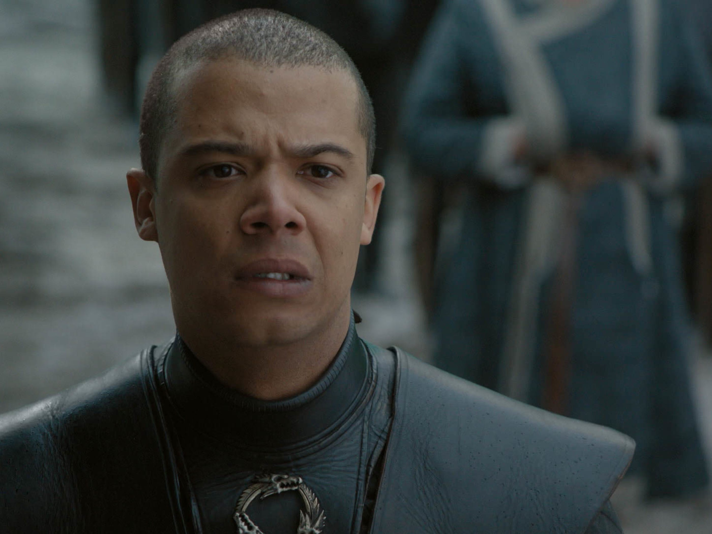Grey Worm (Jacob Anderson) is distraught over the death of Missandei.