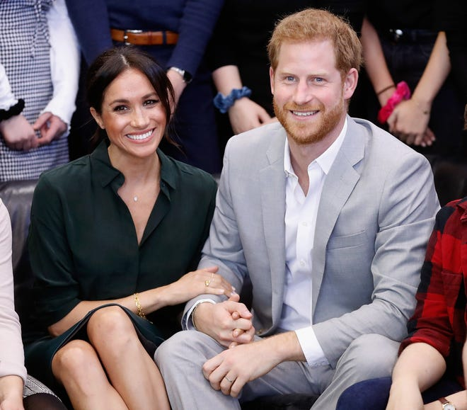 Prince Harry and Duchess Meghan, pictured on Oct. 3, 2018 in Peacehaven, United Kingdom.