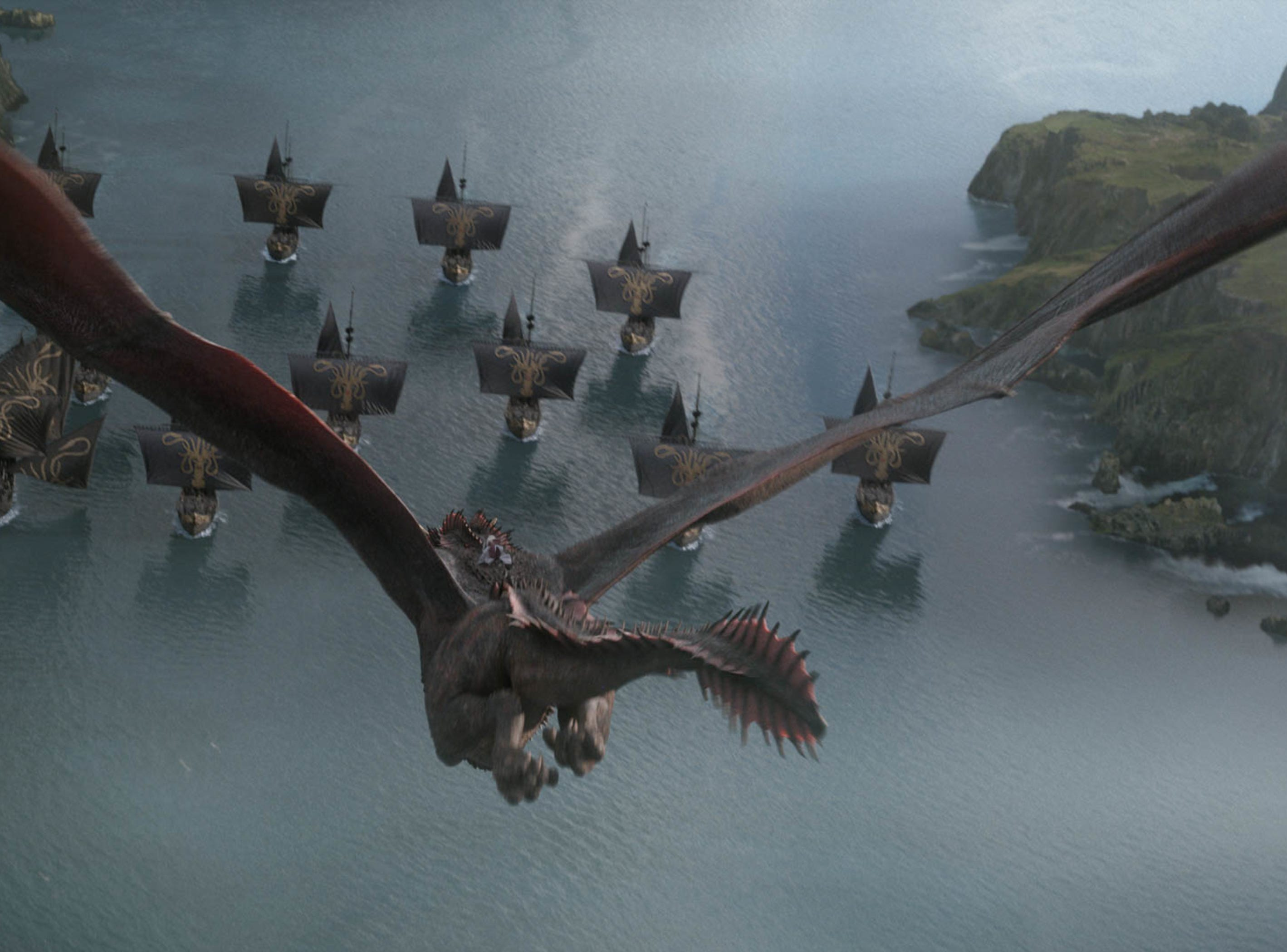 Dany's dragon responds to a sneak attack by Euron Greyjoy's forces in 'The Last of The Starks' episode of 'Game of Thrones.'