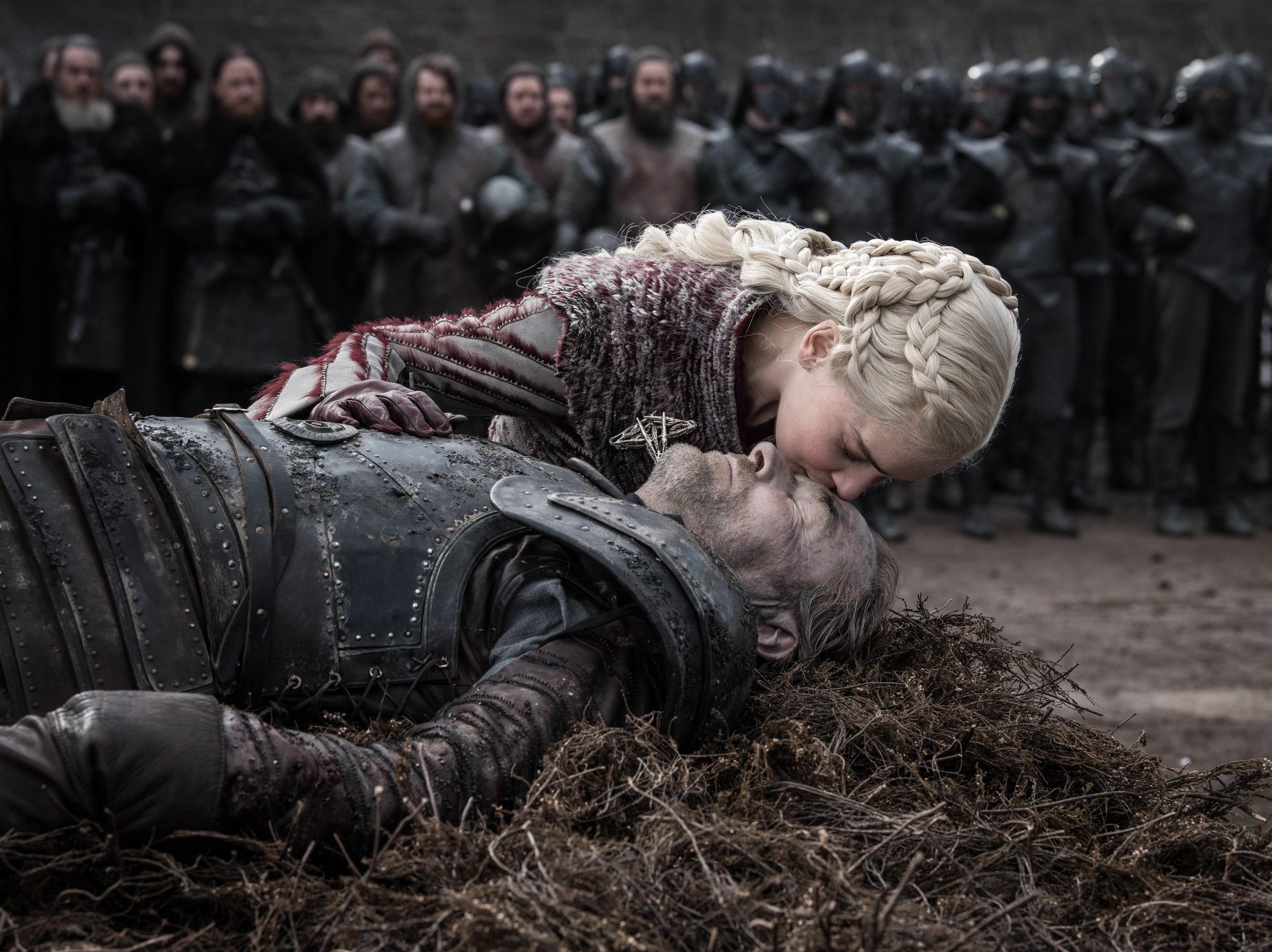 Daenerys Targaryen (Emilia Clarke), top, mourns the fallen Jorah Mormont (Iain Glen), who died in the Battle of Winterfell.