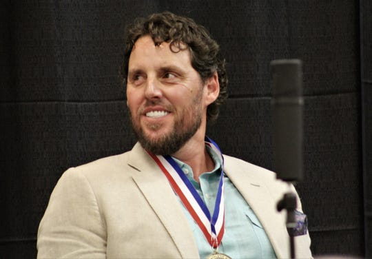 Former Major League pitcher (Angels, Red Sox, Cardinals, Cubs) John Lackey laughs during the 2019 Big Country Athletic Hall of Fame inductions at the Abilene Convention Center. He said he enjoyed being home, where his career began.