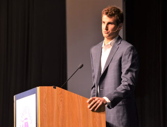 Former University of Michigan basketball player Austin Hatch was the main speaker at the 38th annual Community Prayer Breakfast at Kellogg Arena on Tuesday.