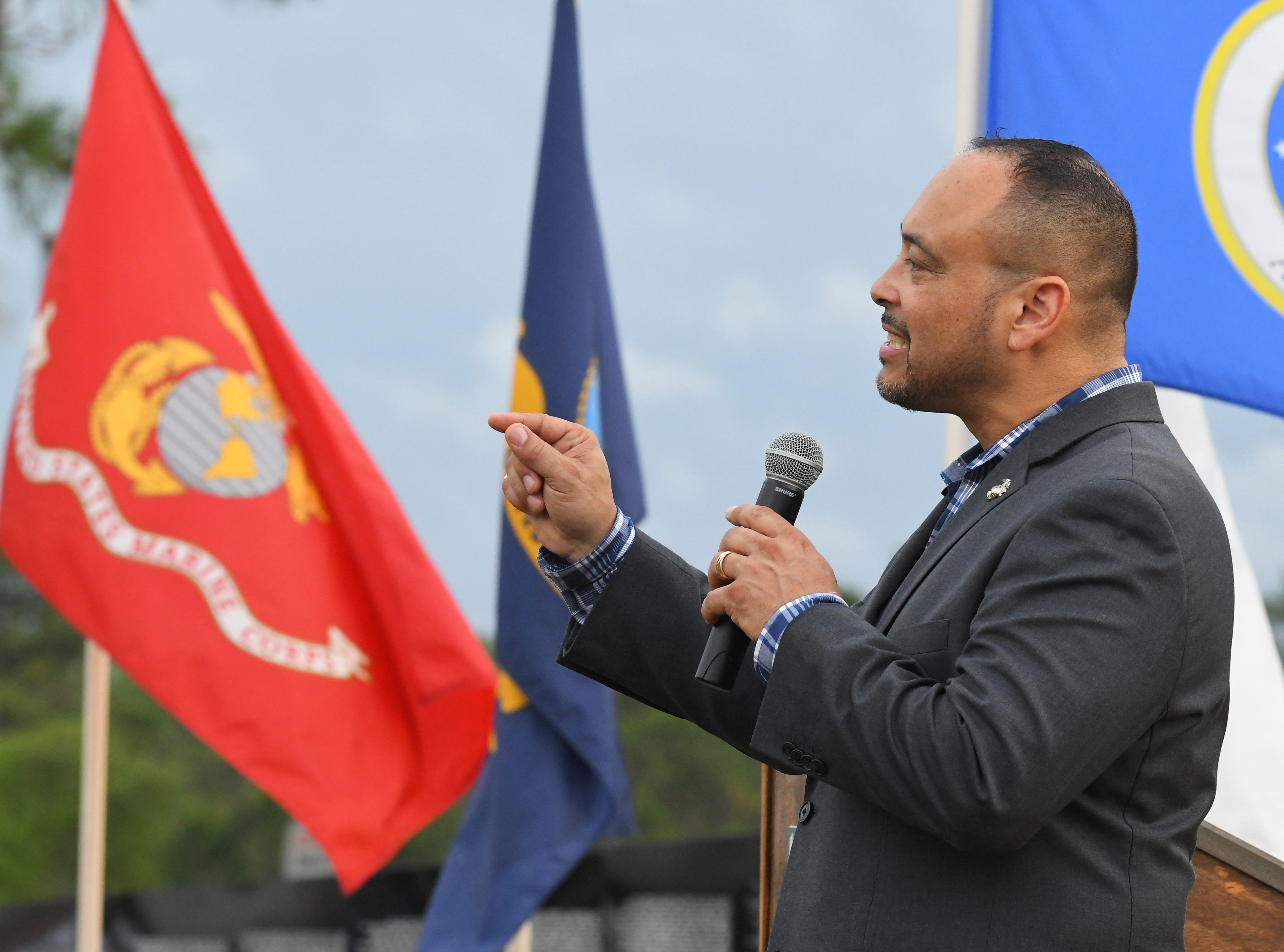 Rob Medina, of the office of Congressman Bill Posey, served in the Marine Corps, and gave a speech at the gathering. Monday's presentation of wreaths and opening ceremony at the Vietnam Traveling Memorial Wall, which will be set up until May 12. It is part of The 32nd Annual Vietnam and All Veterans Reunion, a free event open to the public at Wickham Park in Melbourne May 9-12.