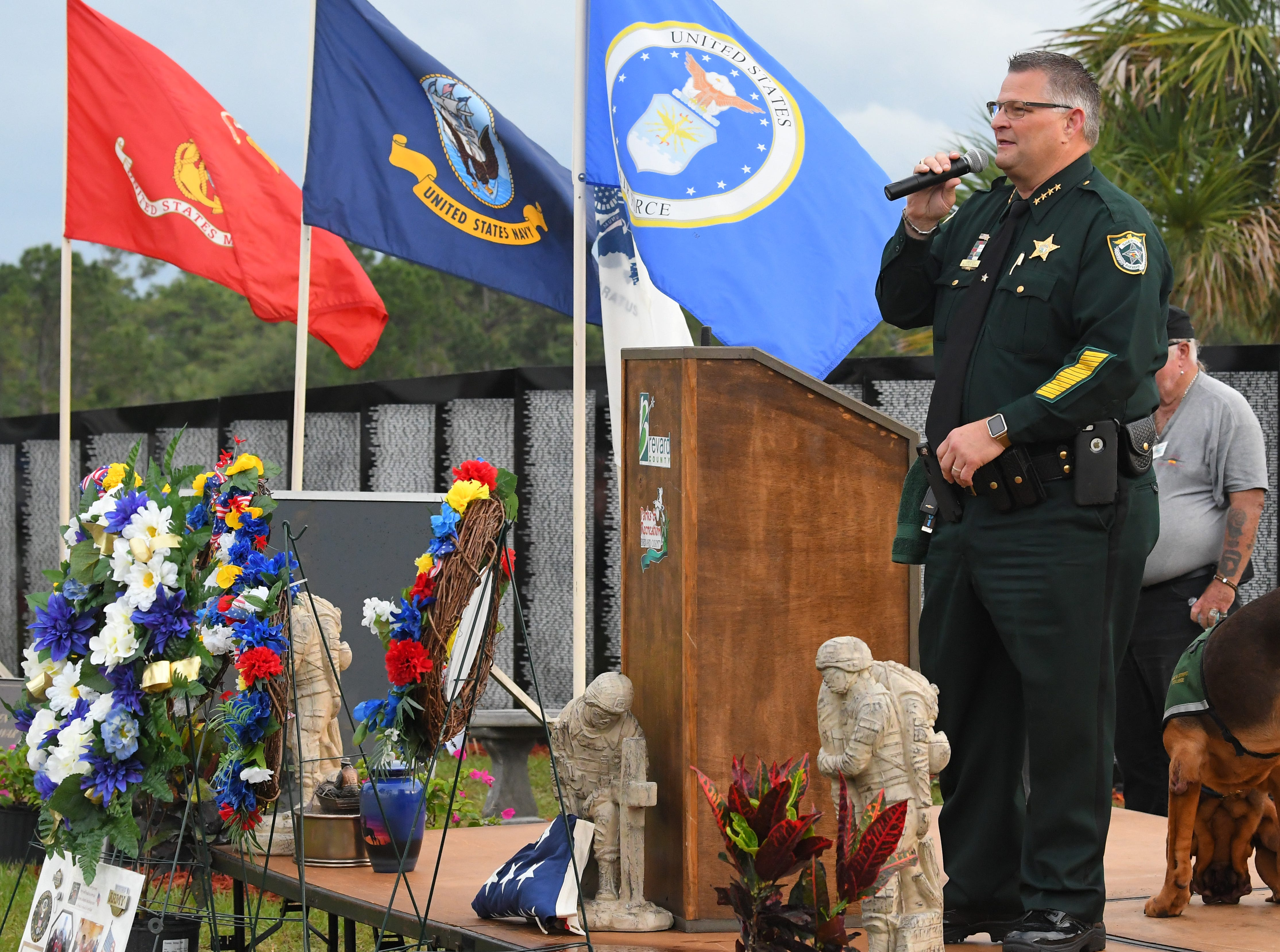 Brevard Sheriff Wayne Ivey. Monday's presentation of wreaths and opening ceremony at the Vietnam Traveling Memorial Wall, which will be set up until May 12. It is part of The 32nd Annual Vietnam and All Veterans Reunion, a free event open to the public at Wickham Park in Melbourne May 9-12.