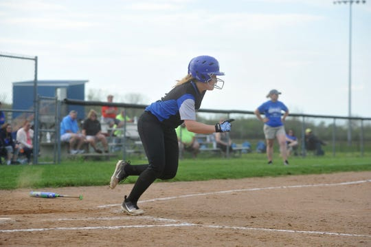 Wynford's Madi Wagner sprints to first on an RBI single.