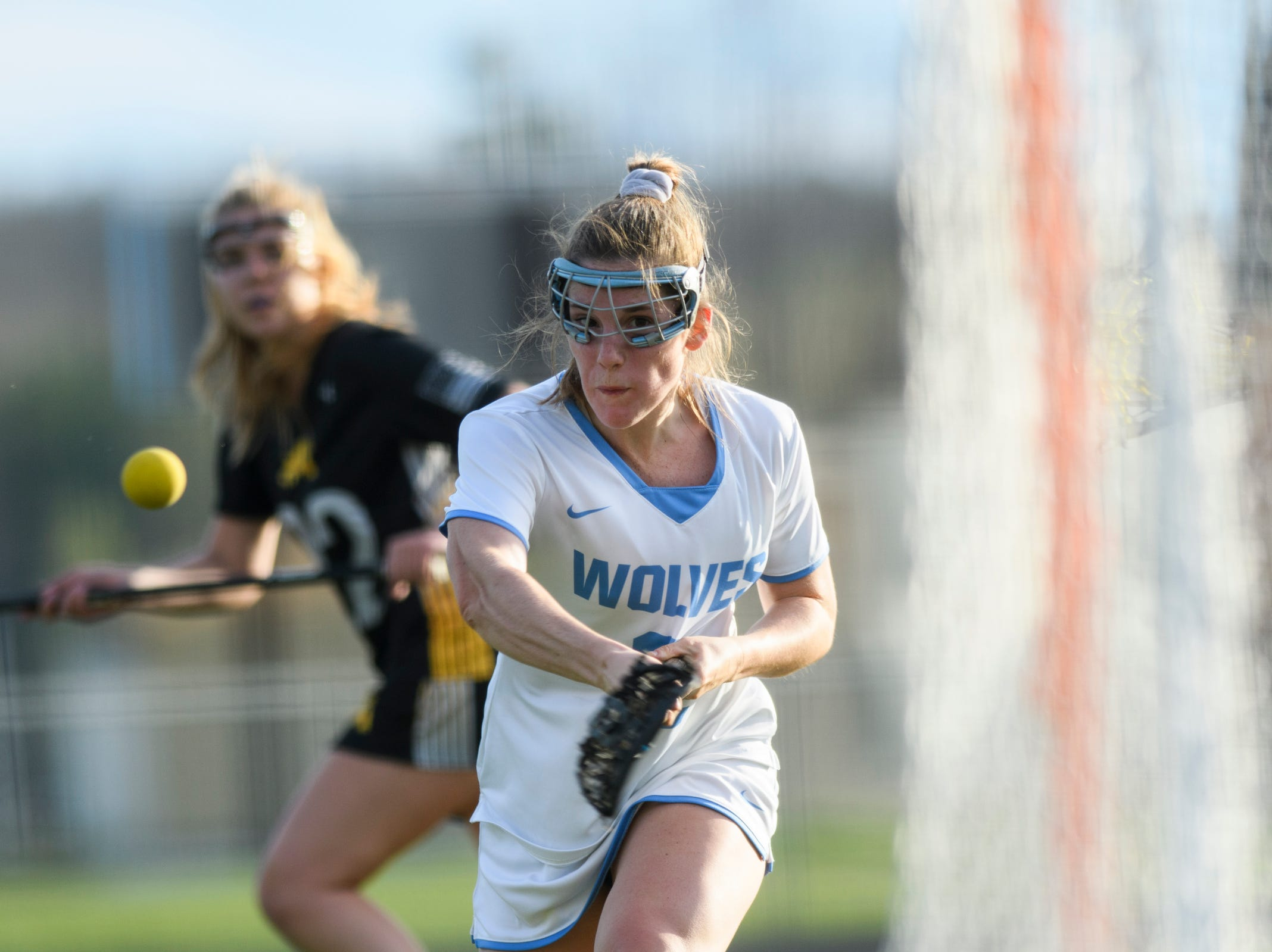 South Burlington's Kate Hall (2) shoots the ball during the high school girls lacrosse game between Burr and Burton Bulldogs and the South Burlington Wolves at Munson Field on Monday afternoon May 6, 2019 in South Burlington, Vermont.
