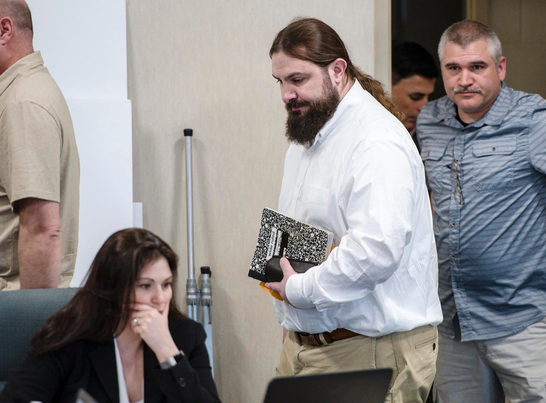 Steven Bourgoin arrives in court for his murder trial in Vermont Superior Court in Burlington on Tuesday, May 7, 2019. Bourgoin is facing five counts of second-degree murder for a crash that killed five teenagers on I-89 in Williston in 2016. Pool photo by Glenn Russell/VTDigger