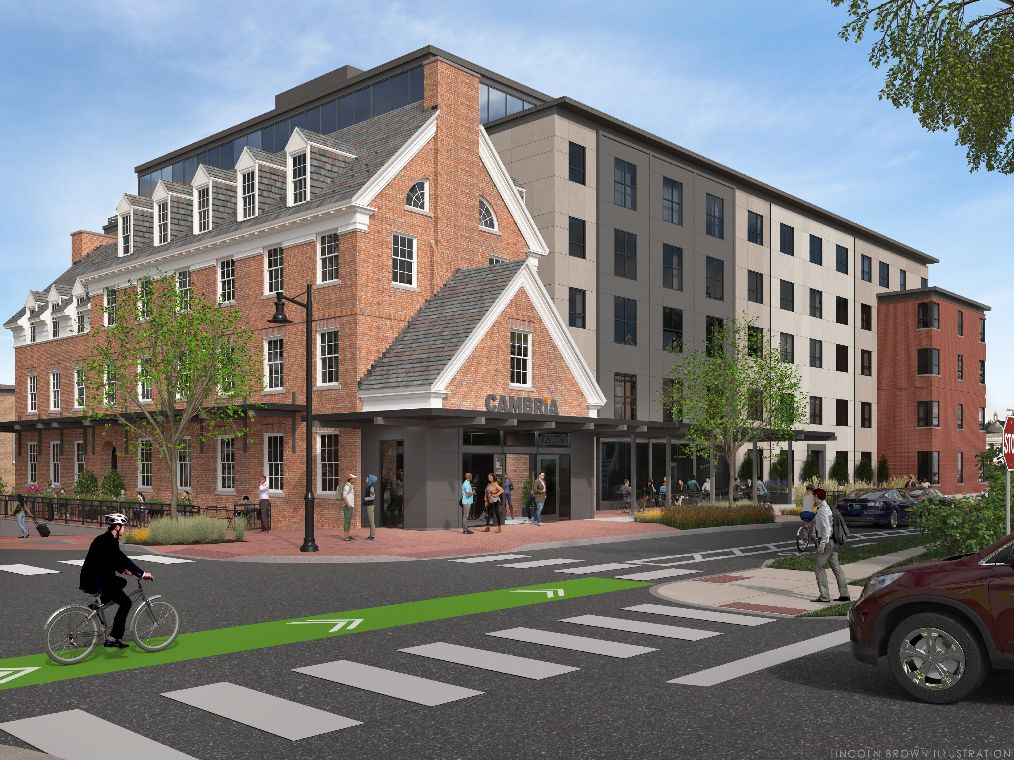 Proposed: a 140-room hotel at the historic downtown YMCA in Burlington. This illustration created by Lincoln Brown in early 2019 is a view of the project at South Union and College streets, looking northwest.