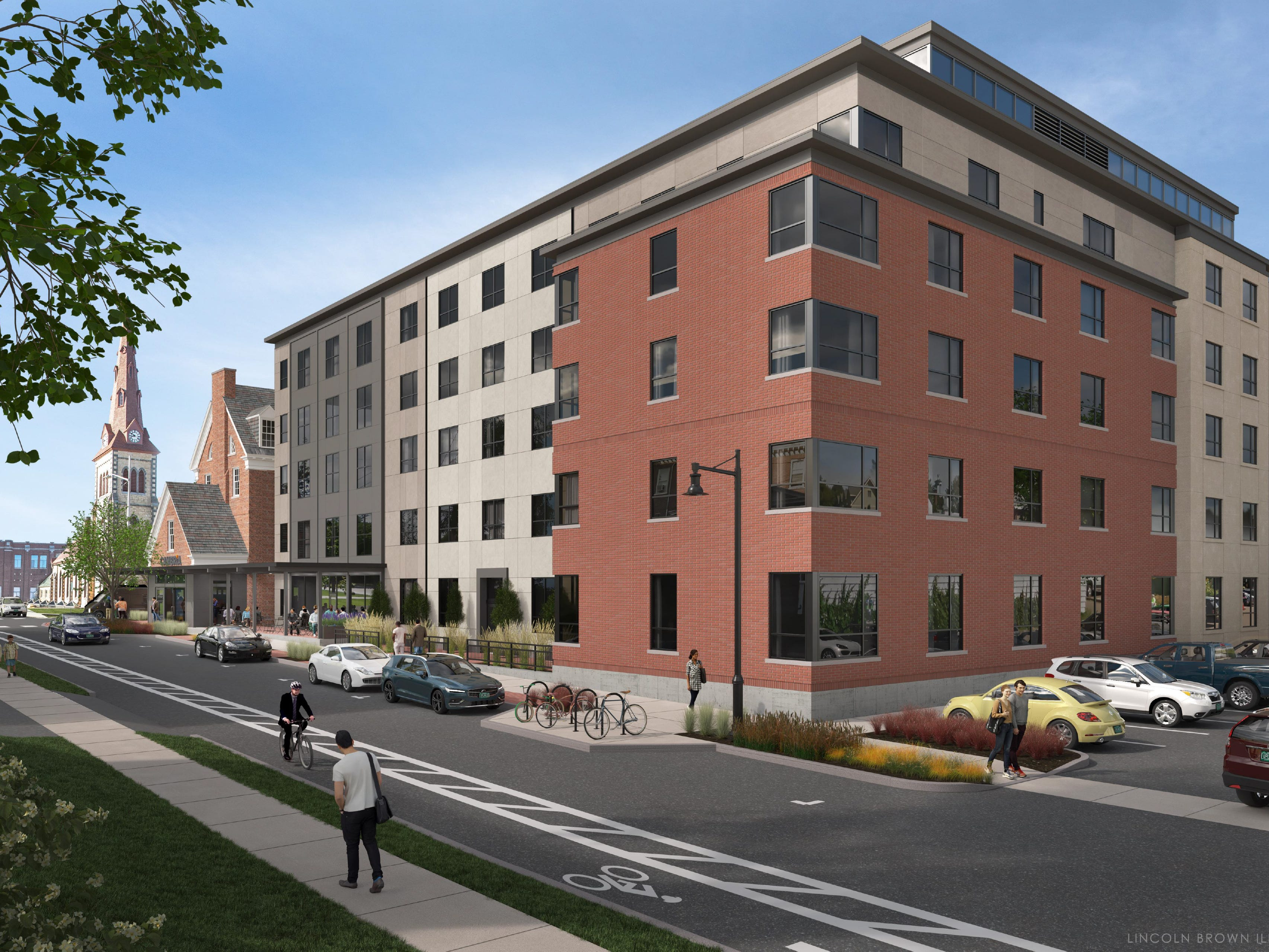 Proposed: a 142-room hotel at the historic downtown YMCA in Burlington. This illustration created by Lincoln Brown in early 2019 is a view of the project from South Union Street, looking south toward College Street.