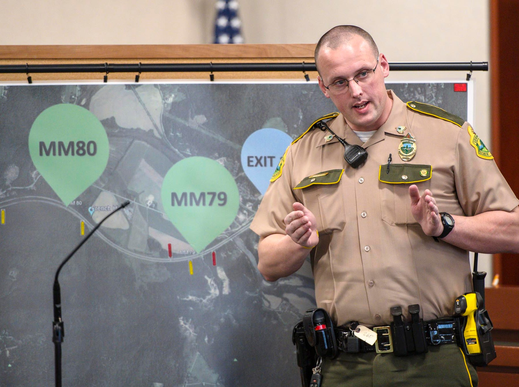 Vermont State Trooper Matthew Nadeau explains how, as a Richmond Police Officer, he spotted a stolen Williston police cruiser heading north in the southbound lane of I-89 during Steven Bourgoin's murder trial in Vermont Superior Court in Burlington on Tuesday, May 7, 2019. Bourgoin is facing five counts of second-degree murder for a crash that killed five teenagers on I-89 in Williston in 2016.