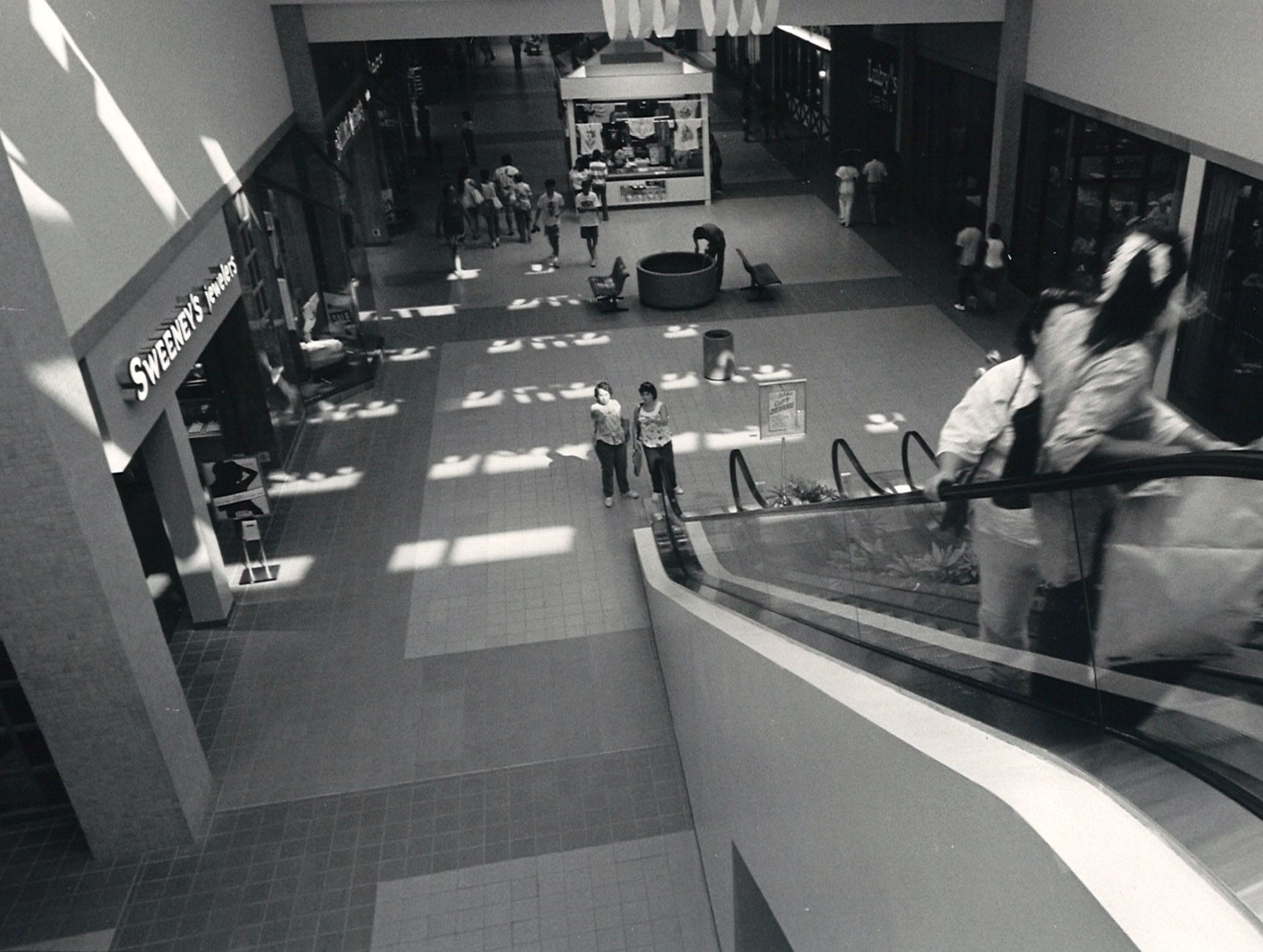 A small group of shoppers inside Padre Staples Mall in Corpus Christi in July 1987.