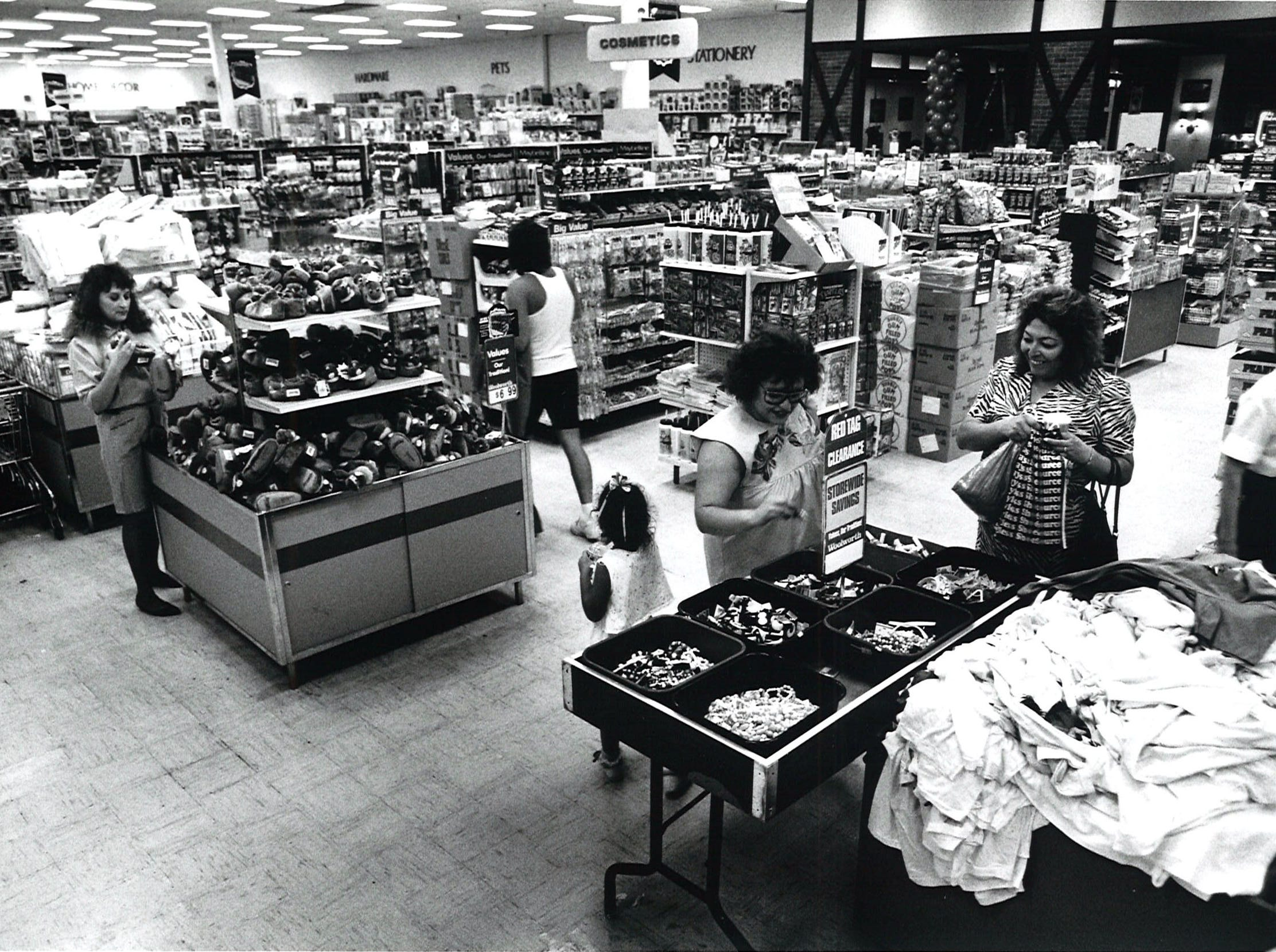 The F. W. Woolworth's location inside Padre Staples Mall in Corpus Christi was still a prosperous location when this photo was taken in August 1990.