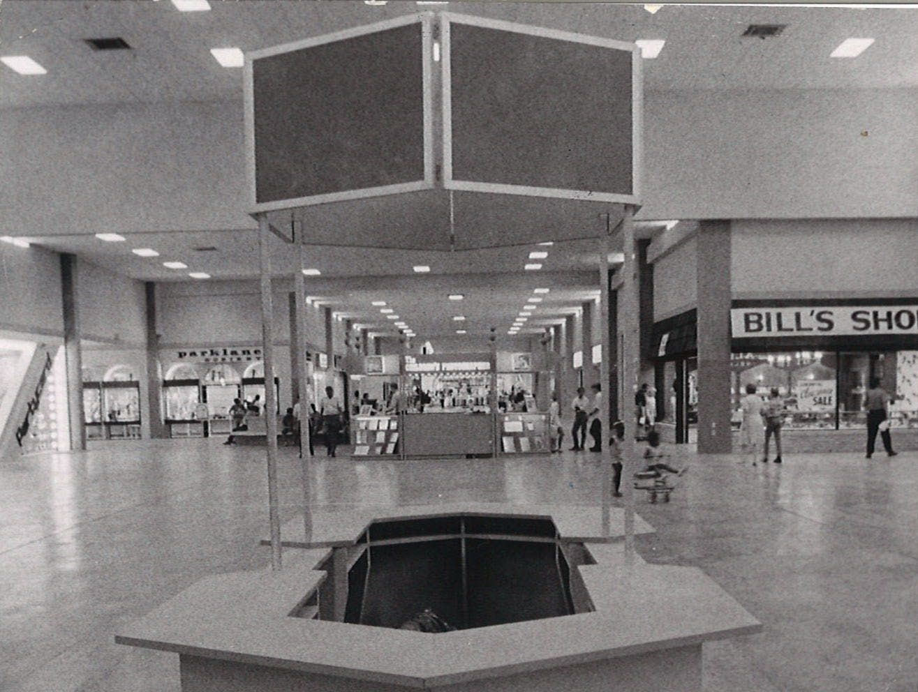 One of the information kiosks inside Padre Staples Mall in Corpus Christi the day before the grand opening celebrations on July 30, 1970.