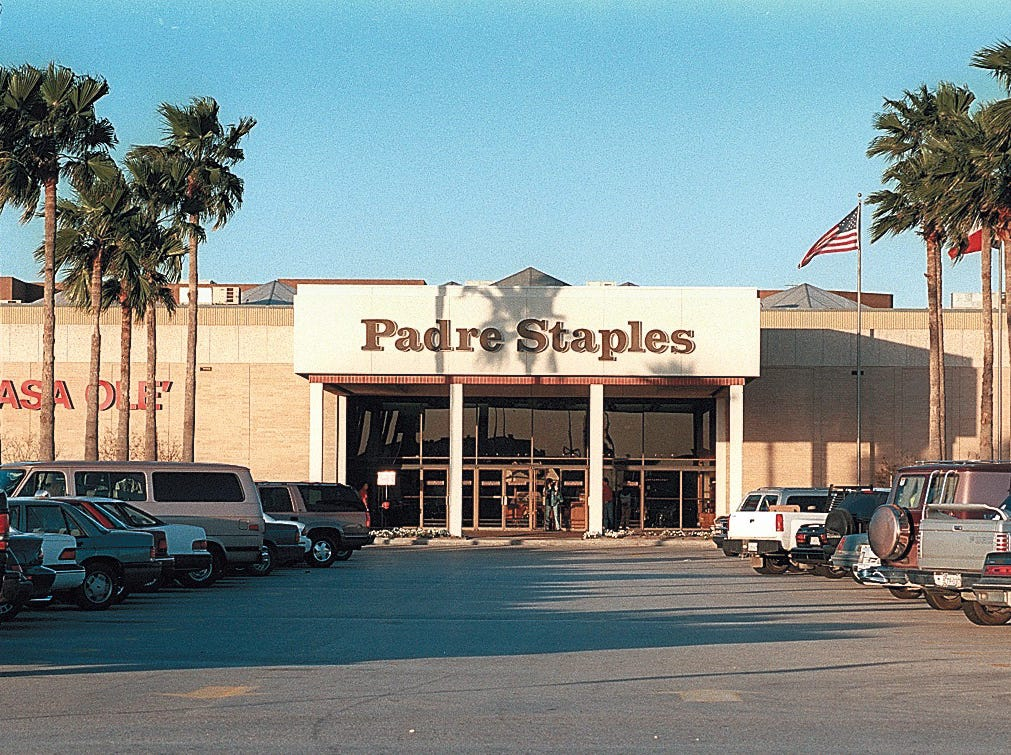 Outside of Padre Staples Mall in Corpus Christi on Dec. 10, 1996.