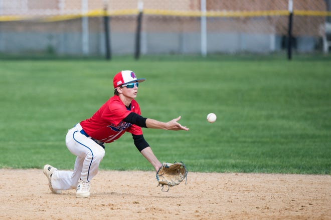 Triton's Teddy Gorski (2) tosses the ball to second against Delran Monday, May 6, 2019 in Runnemede, N.J. Triton won 3-1.