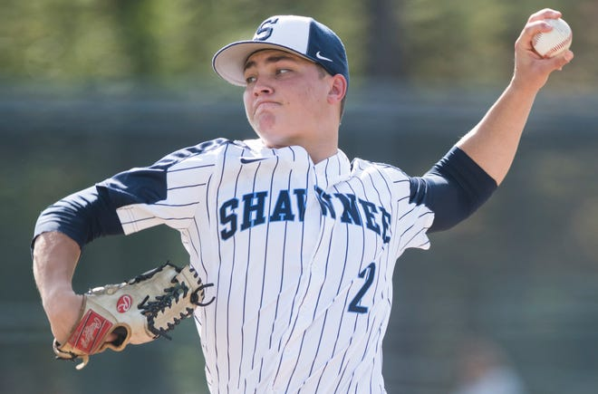 Shawnee's Jackson Balzan delivers a pitch during the  opening round Diamond Classic baseball game between Shawnee and Highland, played at Shawnee High School in Medford on Tuesday, May 7, 2019.  Shawnee defeated Highland, 3-2.