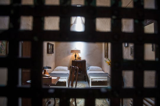 Inside the reimagined cell for Al Capone at Eastern State Penitentiary in Philadelphia, Pa. Thursday, May 2, 2019. The Capone exhibit was moved one cell over after renovations revealed historically significant findings under layers of paint in the original cell.