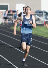 Adena's Tate Myers took first place in the boys 400-meter dash with a time of 52.94 at the 2019 SVC Track and Field Championships in Monday, May 6, 2019, at Westfall High School in Williamsport, Ohio.