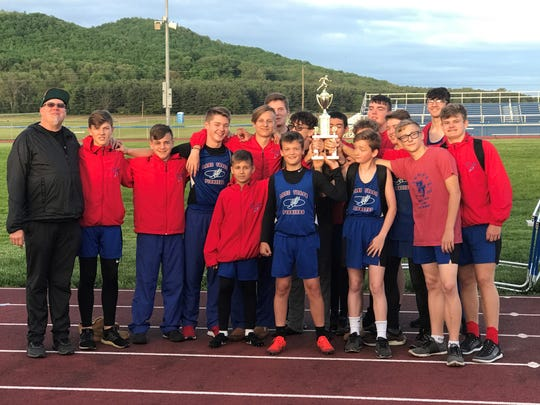 Zane Trace Middle School boys track and field finished first at the SVC Middle School Championships for the 10th straight season last week.