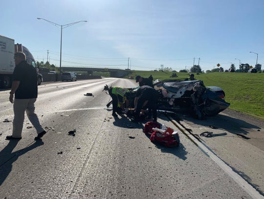 A crash blocked the northbound lanes of Interstate 75 in Fort Mitchell Tuesday morning.