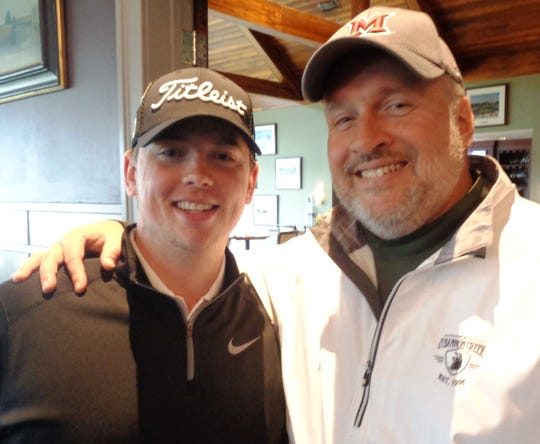 Heaven's Game Foundation founder Chris Dombroski with Art Jarvis (Jarvis Global Financial) before tee-off of the inaugural Scramble Against Cancer golf event.