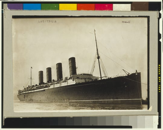Photograph show R.M.S. Lusitania coming into port, possibly in New York.