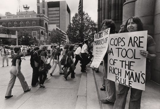 The day after police buried Officer Melvin Henze, mourning officers were met with protesters when they marched on City Hall on May 9, 1979 to demand greater protections from City Council.