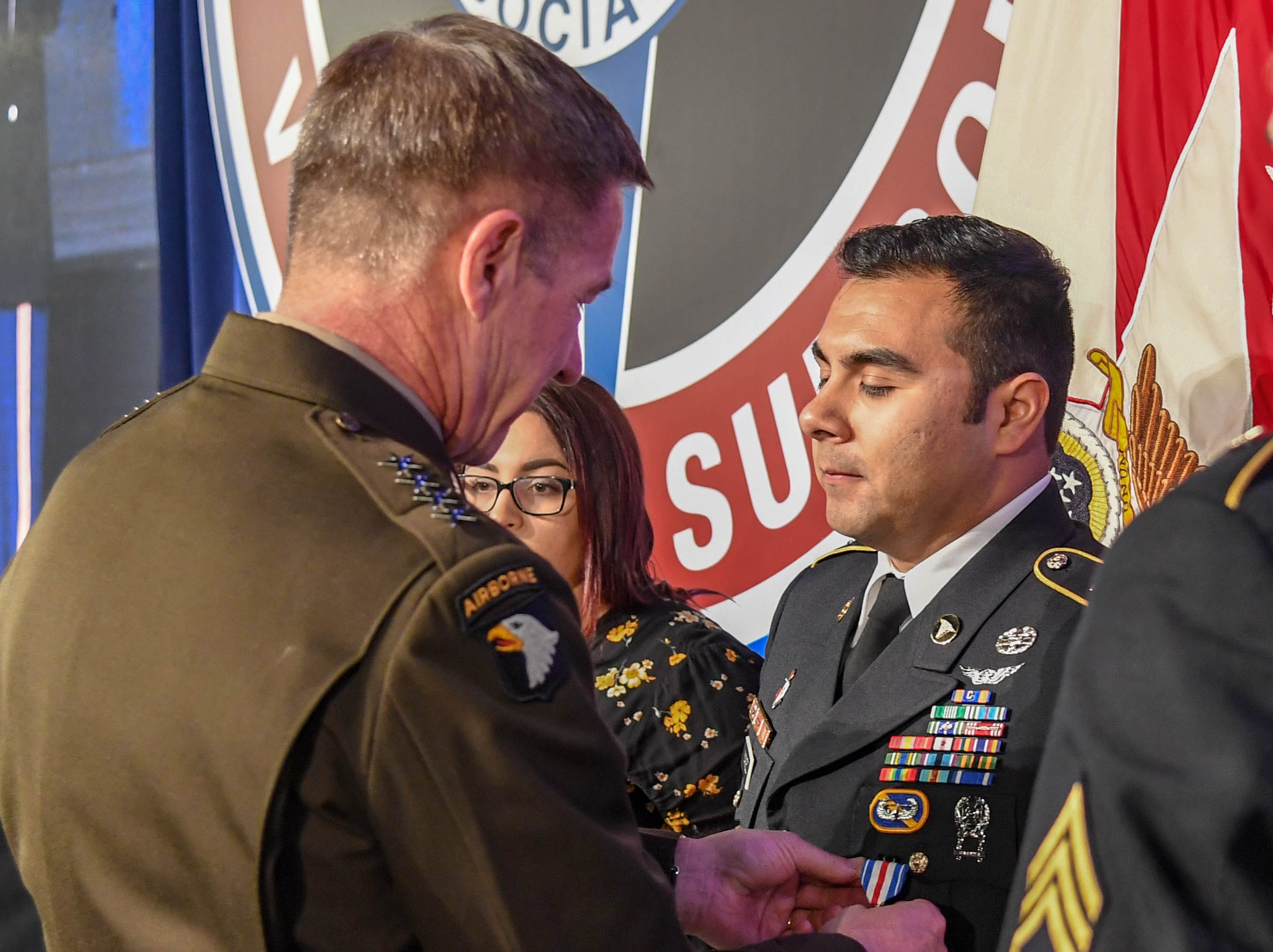 Sgt. Armando Yanez, 101st Combat Aviation Brigade, receives the Silver Star on April 16, 2019, for heroism in combat during a medevac mission last year in Afghanistan.