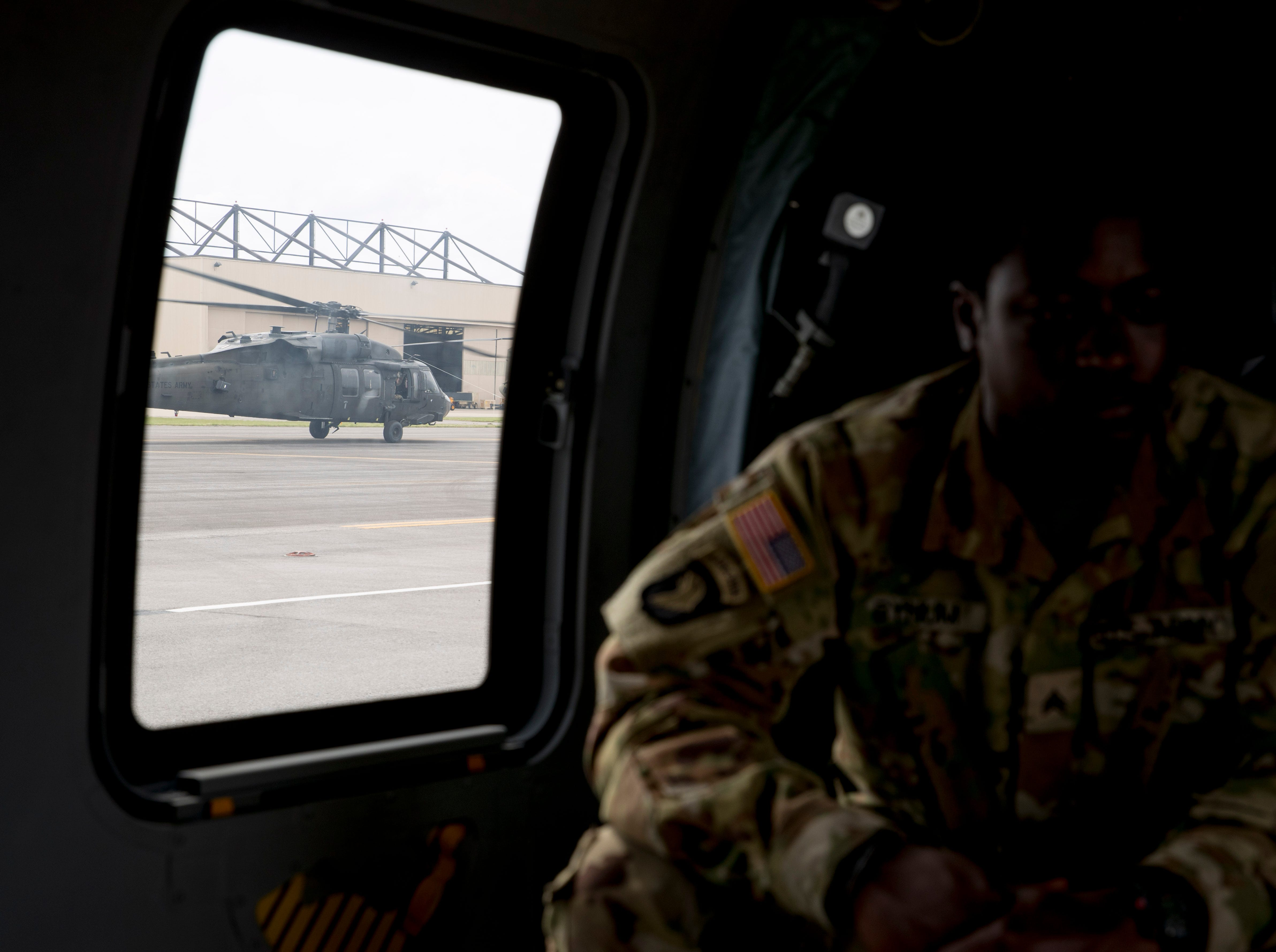 A Black Hawk helicopter returns from a test flight and moves down the runway at Campbell Army Airfield in Fort Campbell, KY., on Wednesday, May 1, 2019.