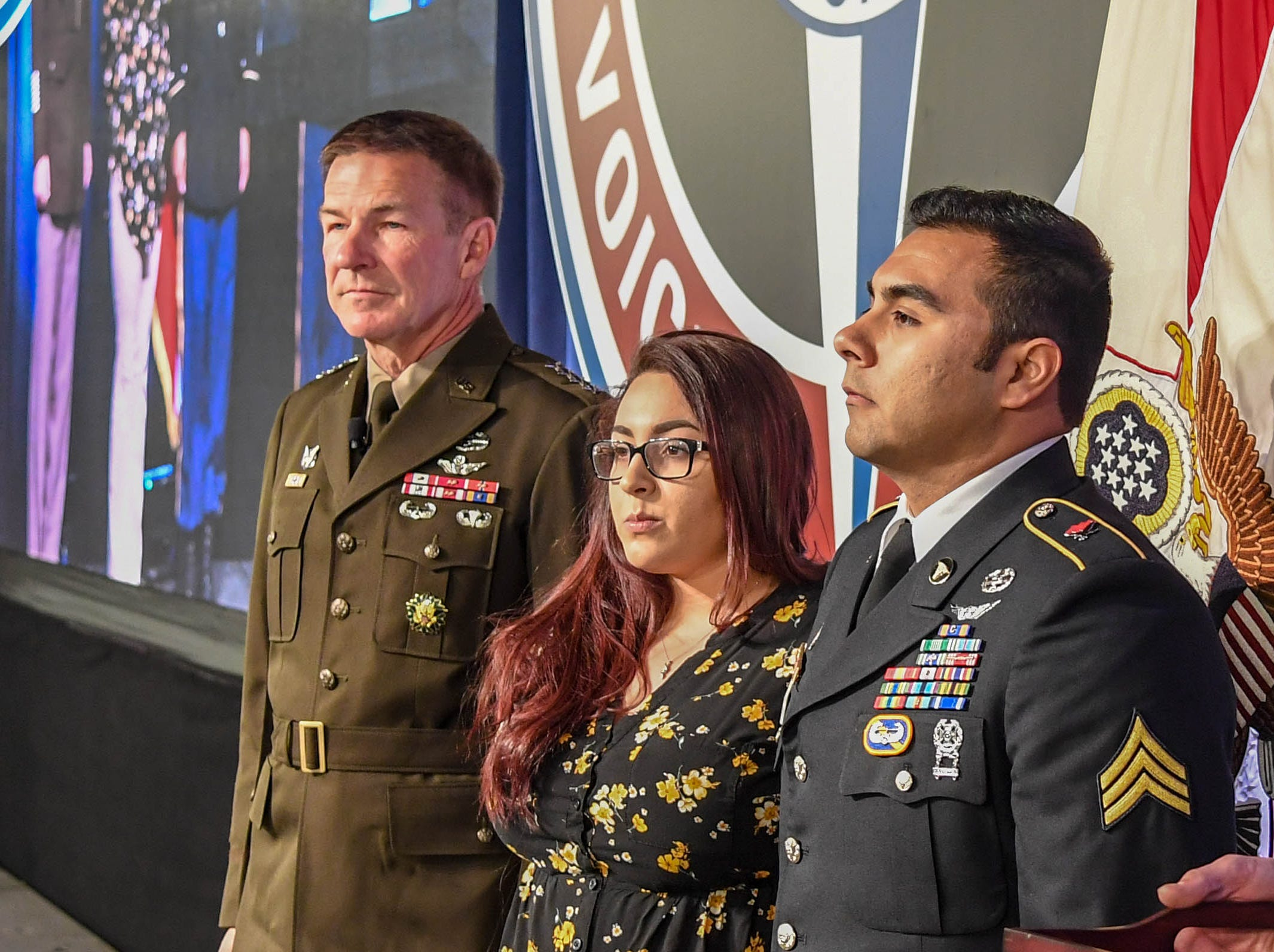 Sgt. Armando Yanez, 101st Combat Aviation Brigade, being awarded the Silver Star on April 16, 2019, for heroism in combat during a medevac mission last year in Afghanistan.