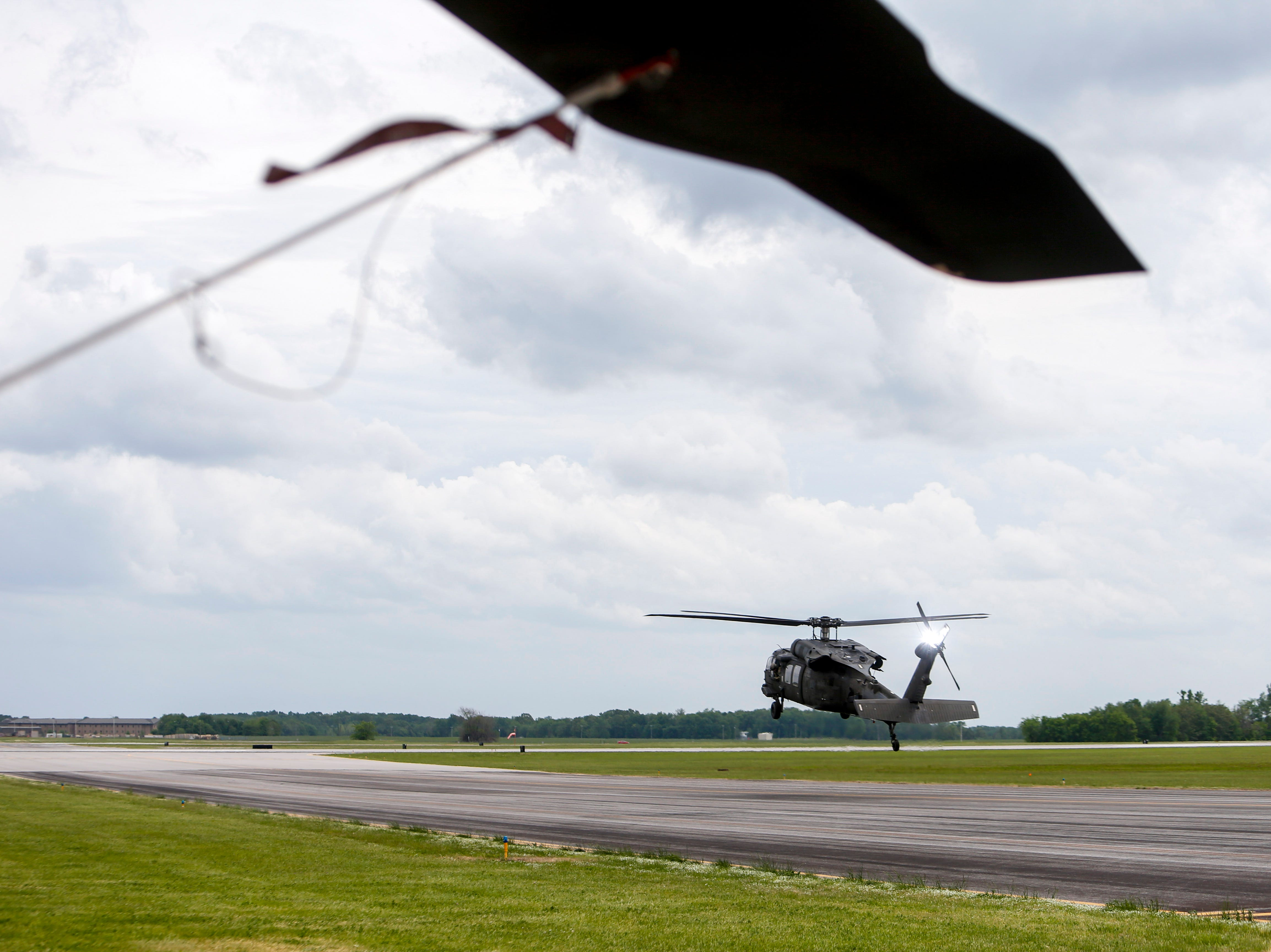 A Black Hawk helicopter hovers a short distance above the ground during a test flight at Campbell Army Airfield in Fort Campbell, KY., on Wednesday, May 1, 2019.