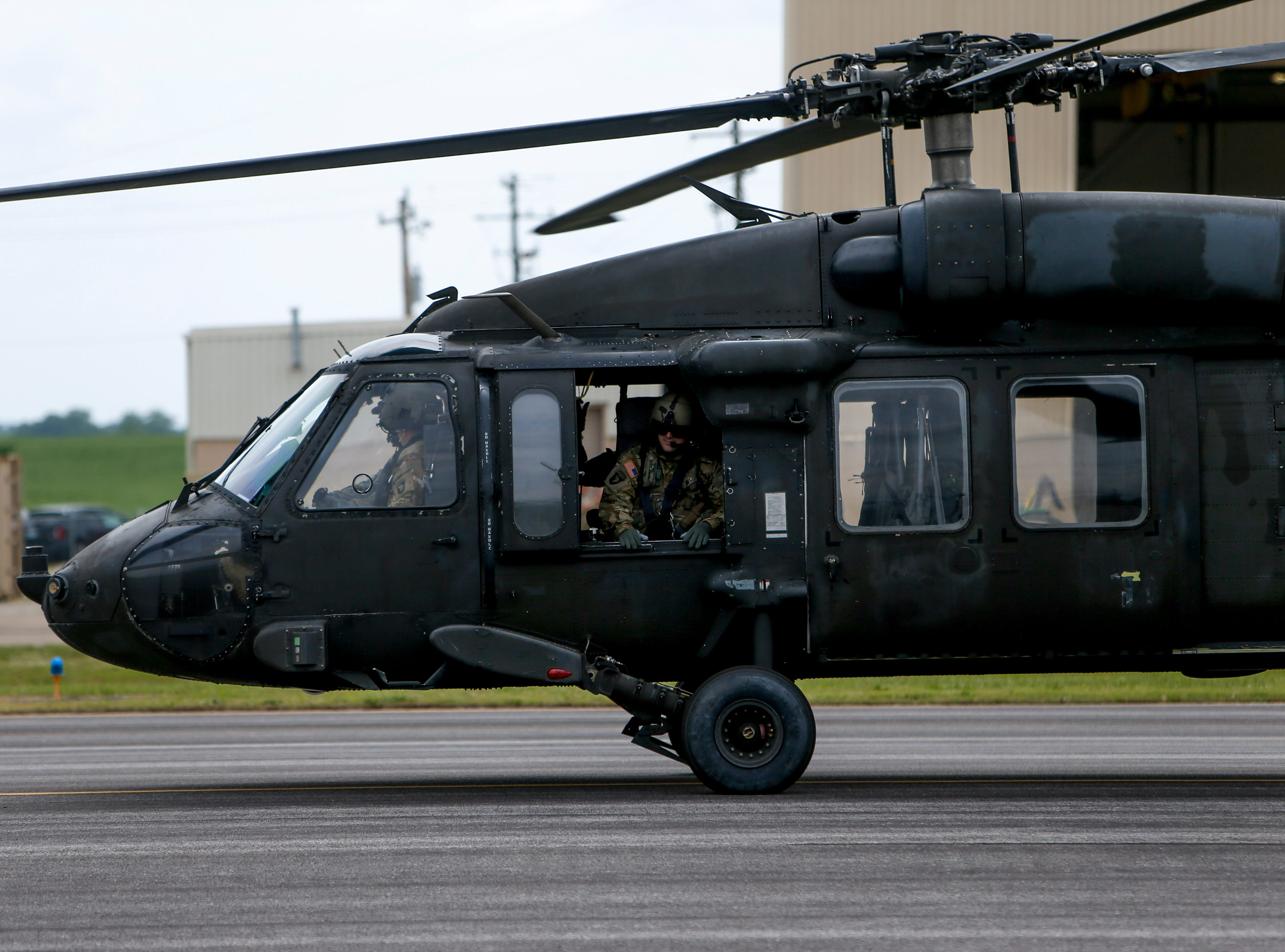 A crew prepares to take a Black Hawk helicopter for a flight at Campbell Army Airfield in Fort Campbell, KY., on Wednesday, May 1, 2019.