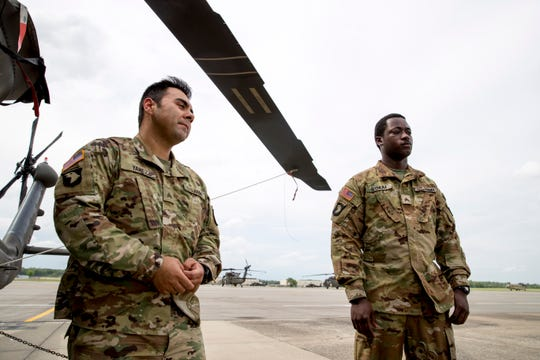 Sgt. Armando Yanez, left, and Sgt. Emmanuel Bynum share the story of the mission that earned them the Silver Star on Wednesday, May 1, 2019.